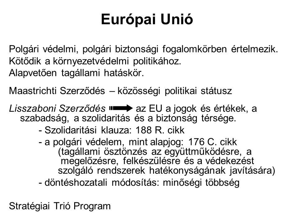Európai Unió Polgári védelmi, polgári biztonsági fogalomkörben értelmezik. Kötődik a környezetvédelmi politikához.