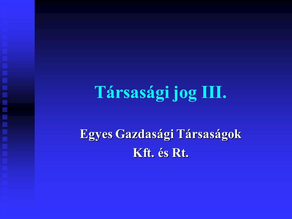 Egyes Gazdasági Társaságok Kft. és Rt.