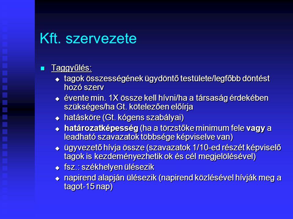Kft. szervezete Taggyűlés: