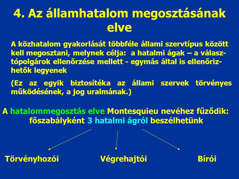 4. Az államhatalom megosztásának elve