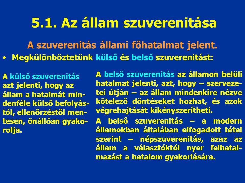 5.1. Az állam szuverenitása A szuverenitás állami főhatalmat jelent.
