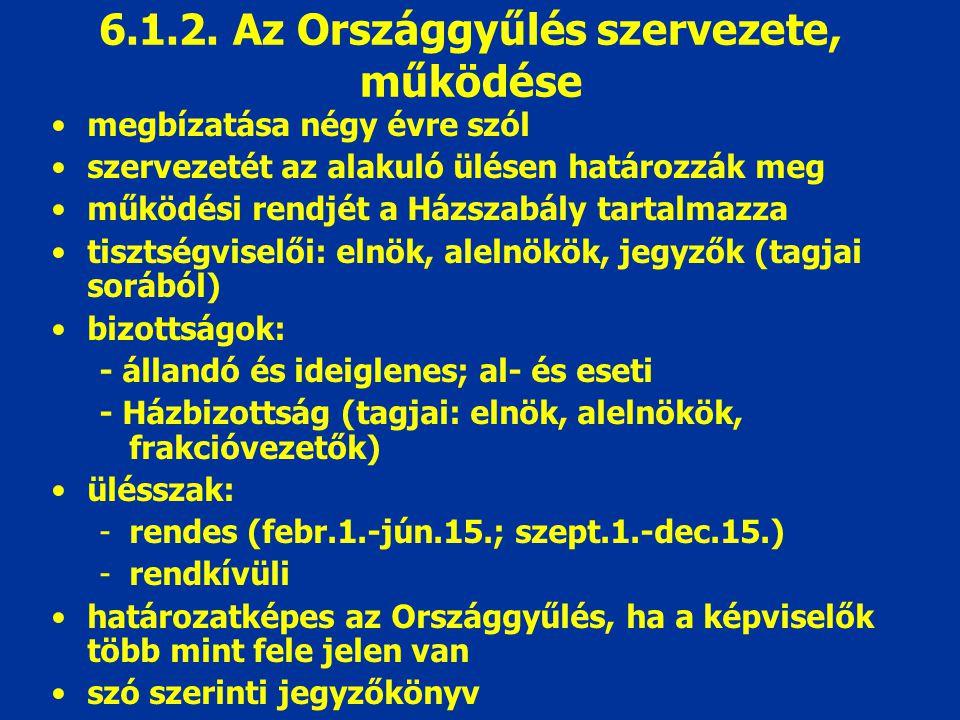 6.1.2. Az Országgyűlés szervezete, működése