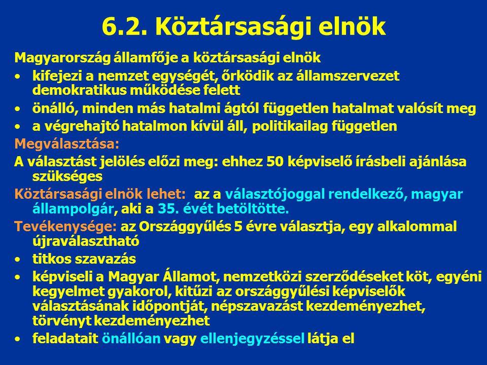 6.2. Köztársasági elnök Magyarország államfője a köztársasági elnök