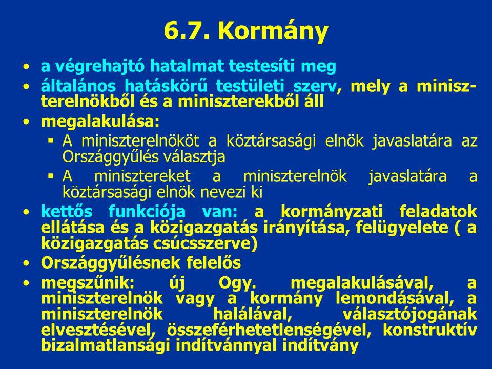 6.7. Kormány a végrehajtó hatalmat testesíti meg