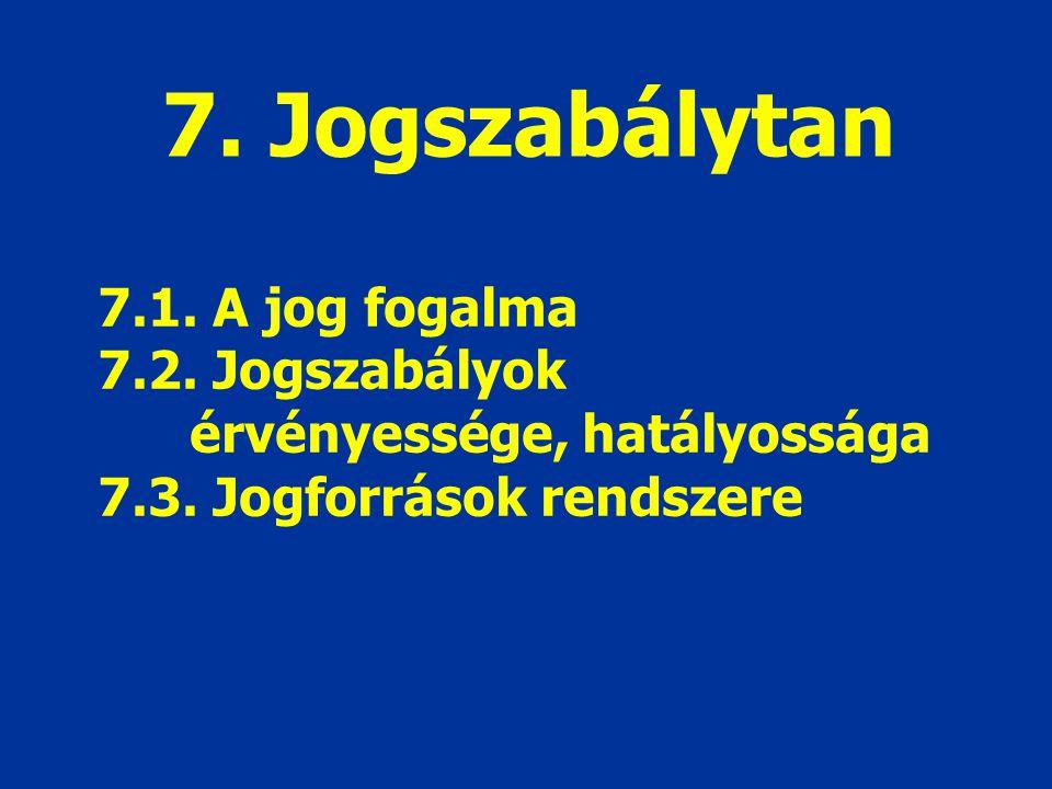 7. Jogszabálytan 7.1. A jog fogalma