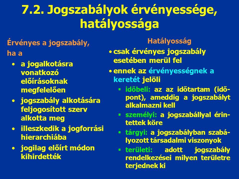 7.2. Jogszabályok érvényessége, hatályossága