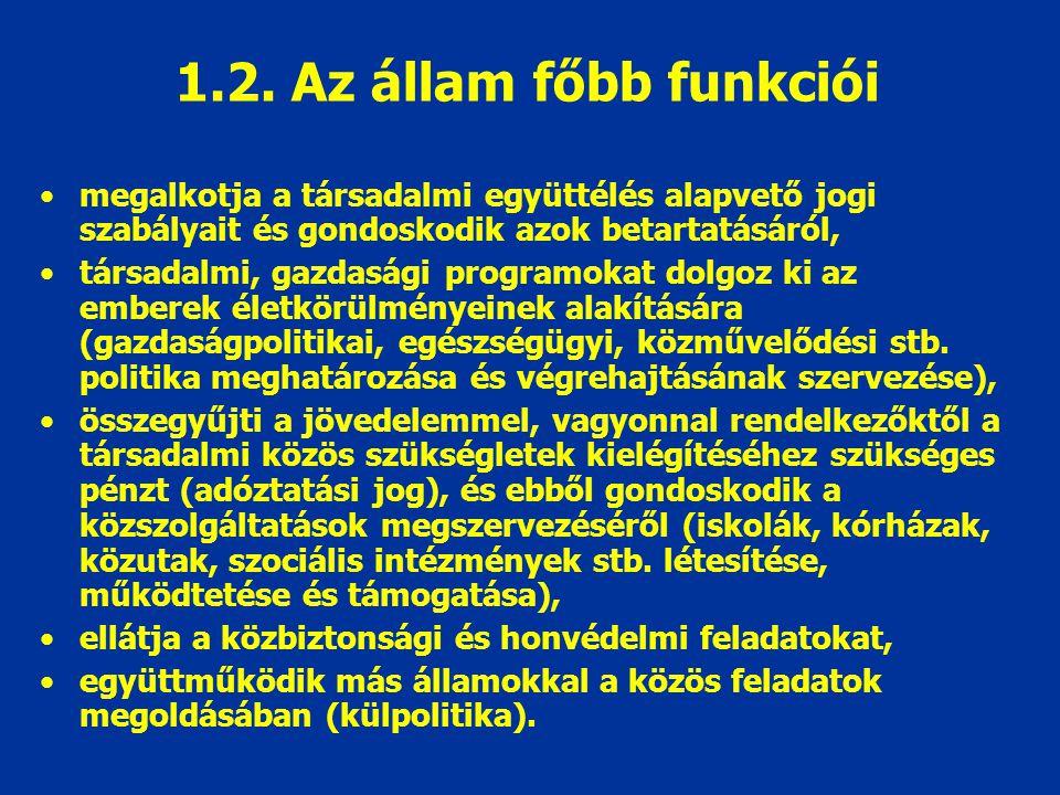 1.2. Az állam főbb funkciói megalkotja a társadalmi együttélés alapvető jogi szabályait és gondoskodik azok betartatásáról,