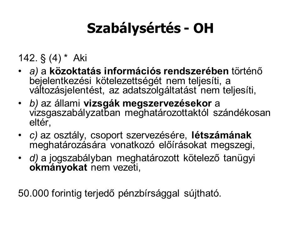 Szabálysértés - OH 142. § (4) * Aki
