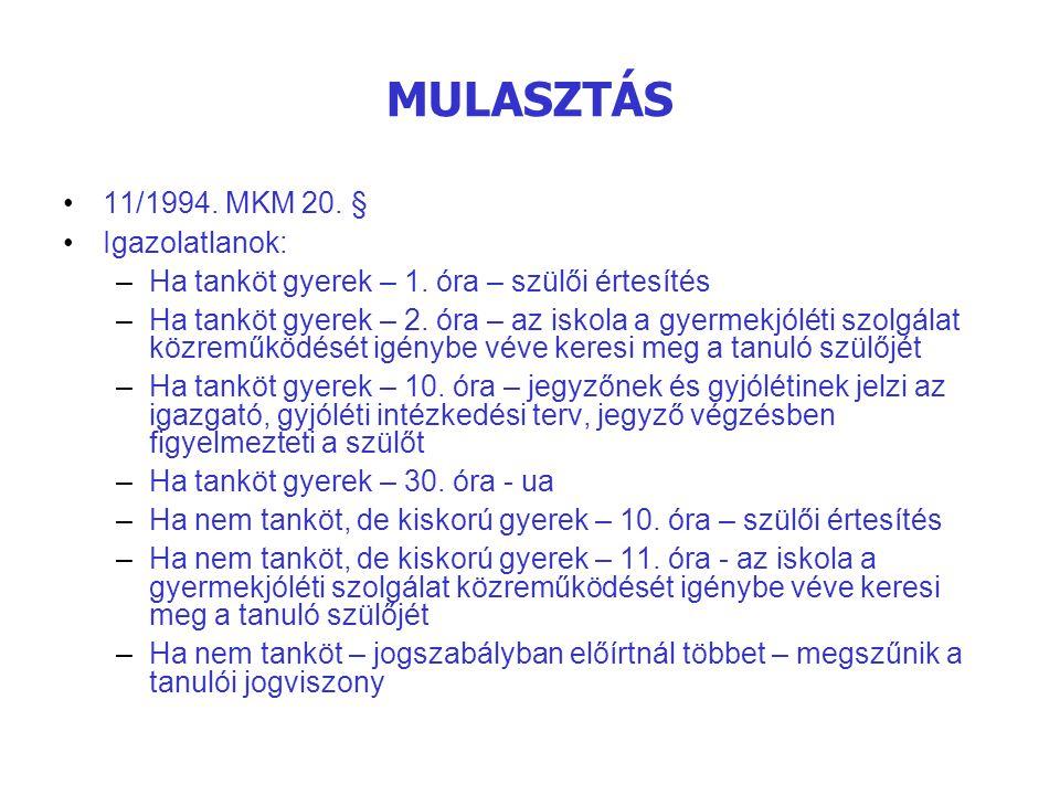 MULASZTÁS 11/1994. MKM 20. § Igazolatlanok: