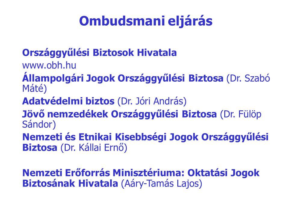 Országgyűlési Biztosok Hivatala www.obh.hu