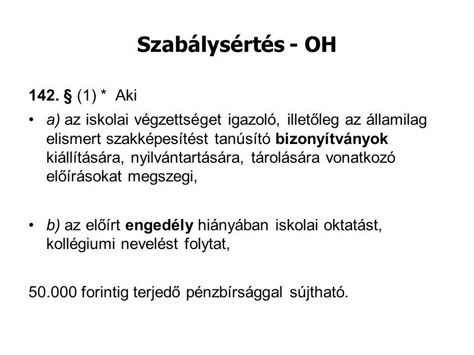 Szabálysértés - OH 142. § (1) * Aki