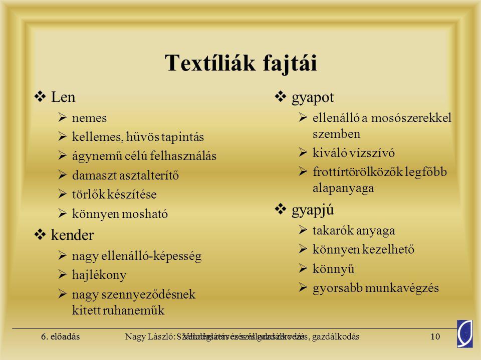 Textíliák fajtái Len kender gyapot gyapjú nemes