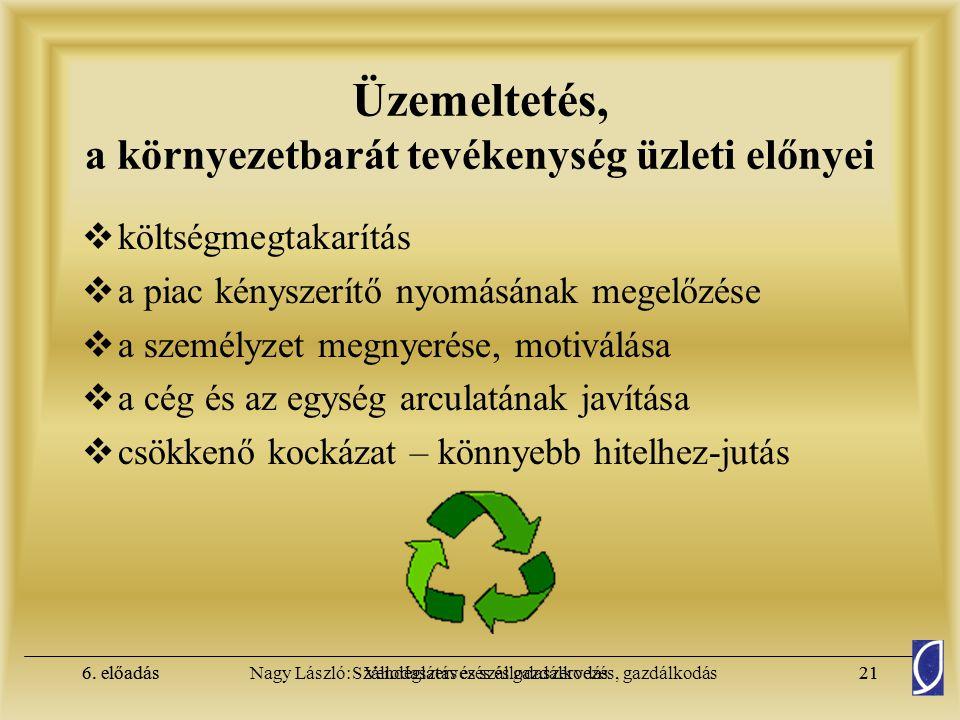 Üzemeltetés, a környezetbarát tevékenység üzleti előnyei