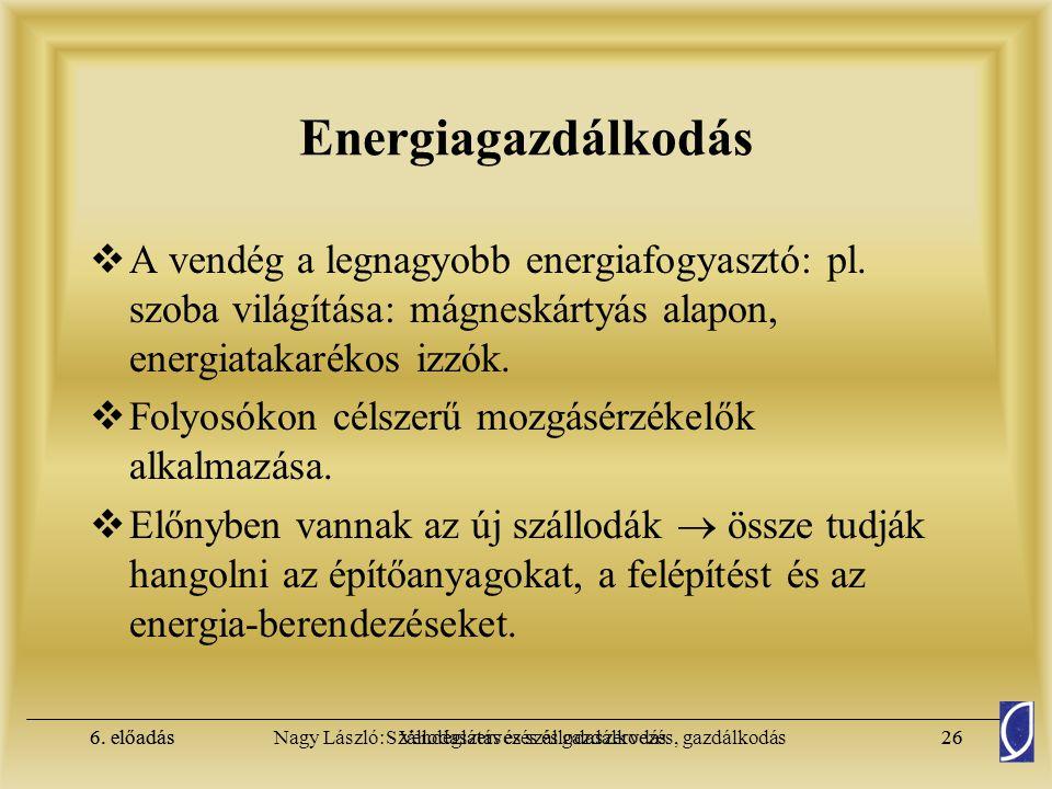 Energiagazdálkodás A vendég a legnagyobb energiafogyasztó: pl. szoba világítása: mágneskártyás alapon, energiatakarékos izzók.