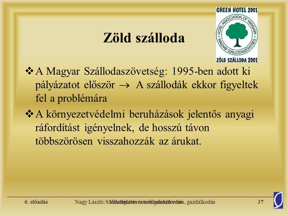 Zöld szálloda A Magyar Szállodaszövetség: 1995-ben adott ki pályázatot először  A szállodák ekkor figyeltek fel a problémára.