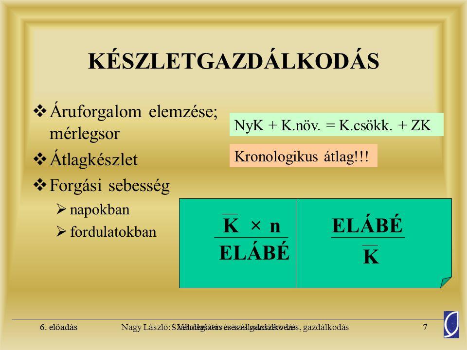 KÉSZLETGAZDÁLKODÁS K × n ELÁBÉ K ELÁBÉ Áruforgalom elemzése; mérlegsor