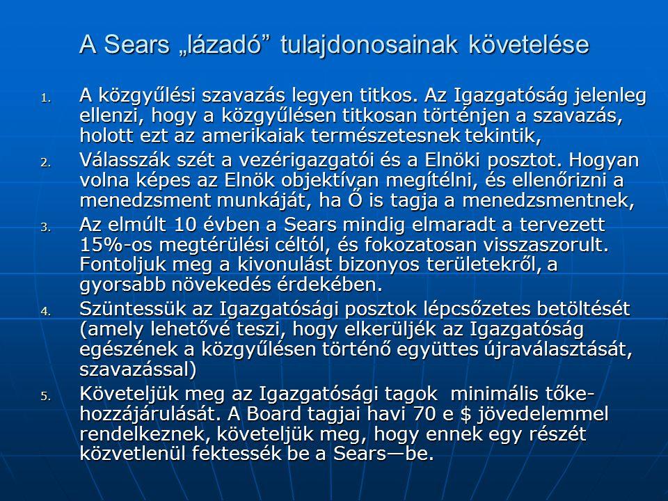 """A Sears """"lázadó tulajdonosainak követelése"""