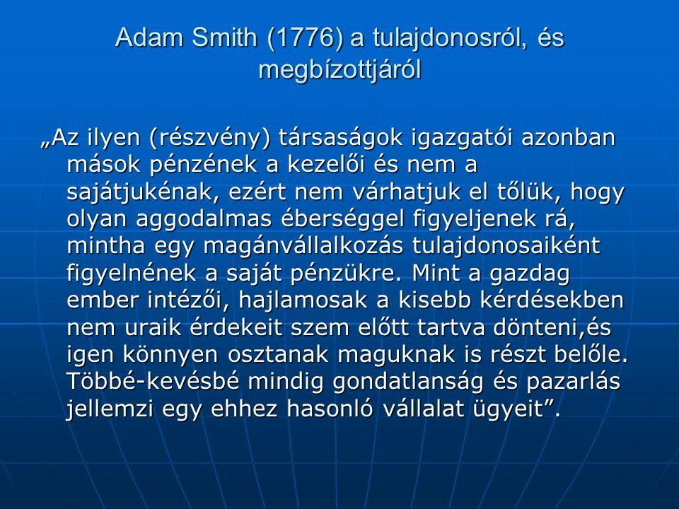Adam Smith (1776) a tulajdonosról, és megbízottjáról