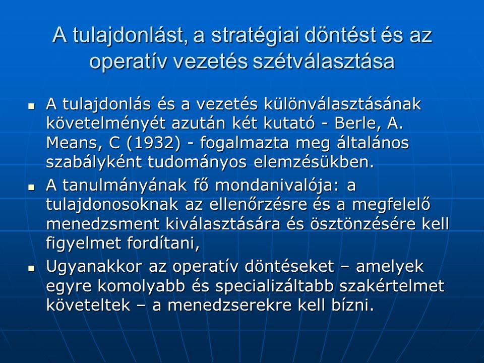 A tulajdonlást, a stratégiai döntést és az operatív vezetés szétválasztása