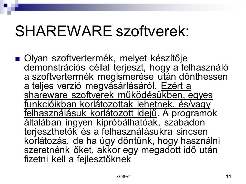 SHAREWARE szoftverek: