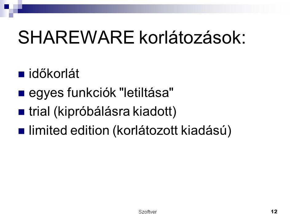 SHAREWARE korlátozások: