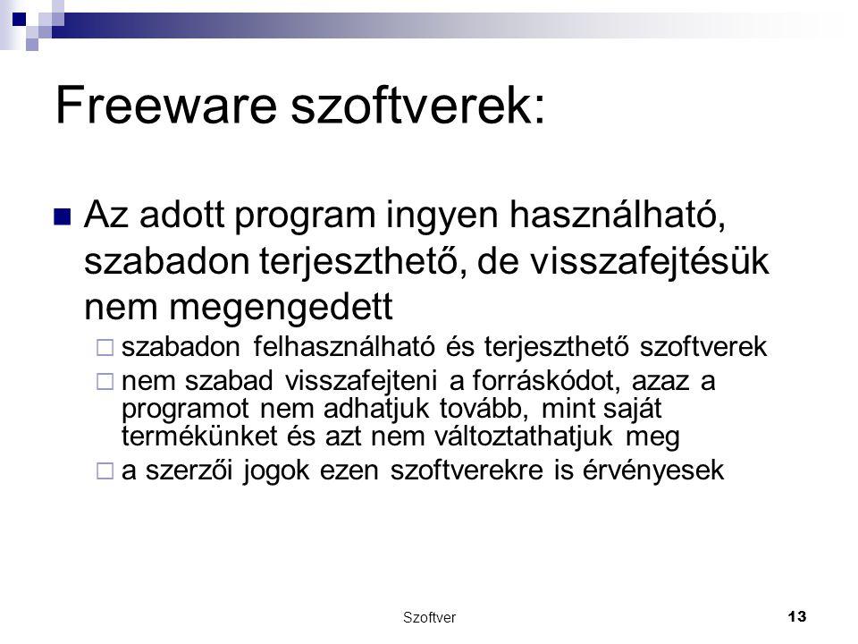 Freeware szoftverek: Az adott program ingyen használható, szabadon terjeszthető, de visszafejtésük nem megengedett.