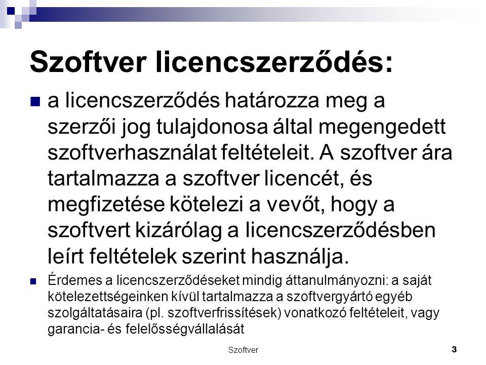 Szoftver licencszerződés: