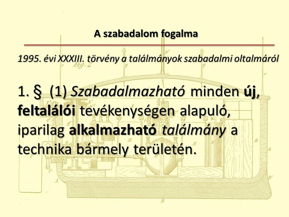 A szabadalom fogalma 1995. évi XXXIII. törvény a találmányok szabadalmi oltalmáról.