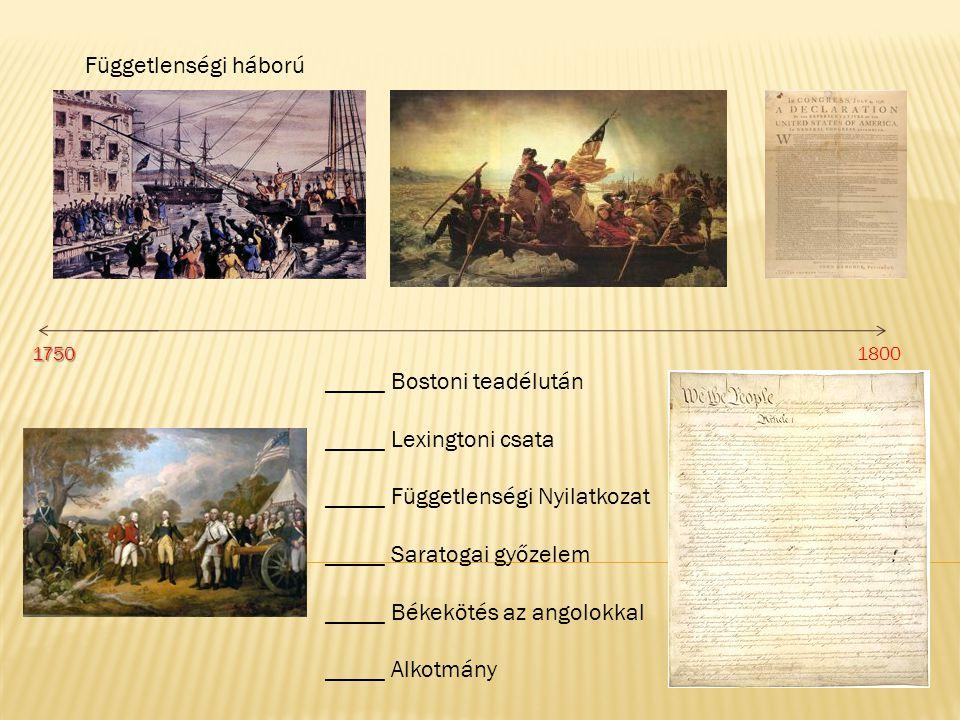 _____ Bostoni teadélután _____ Lexingtoni csata