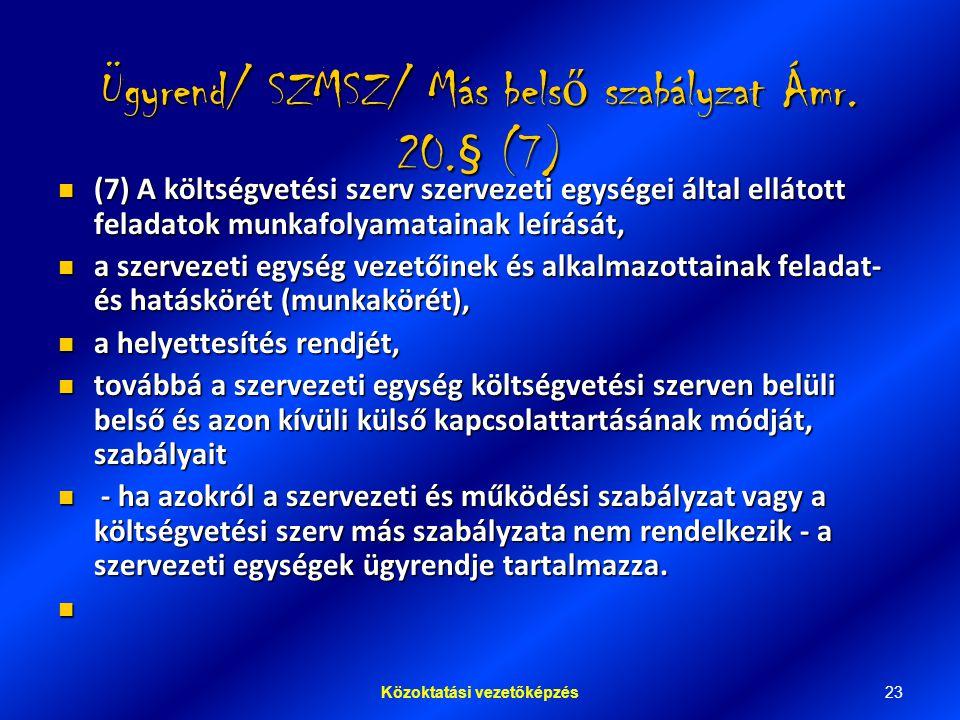 Ügyrend/ SZMSZ/ Más belső szabályzat Ámr. 20.§ (7)