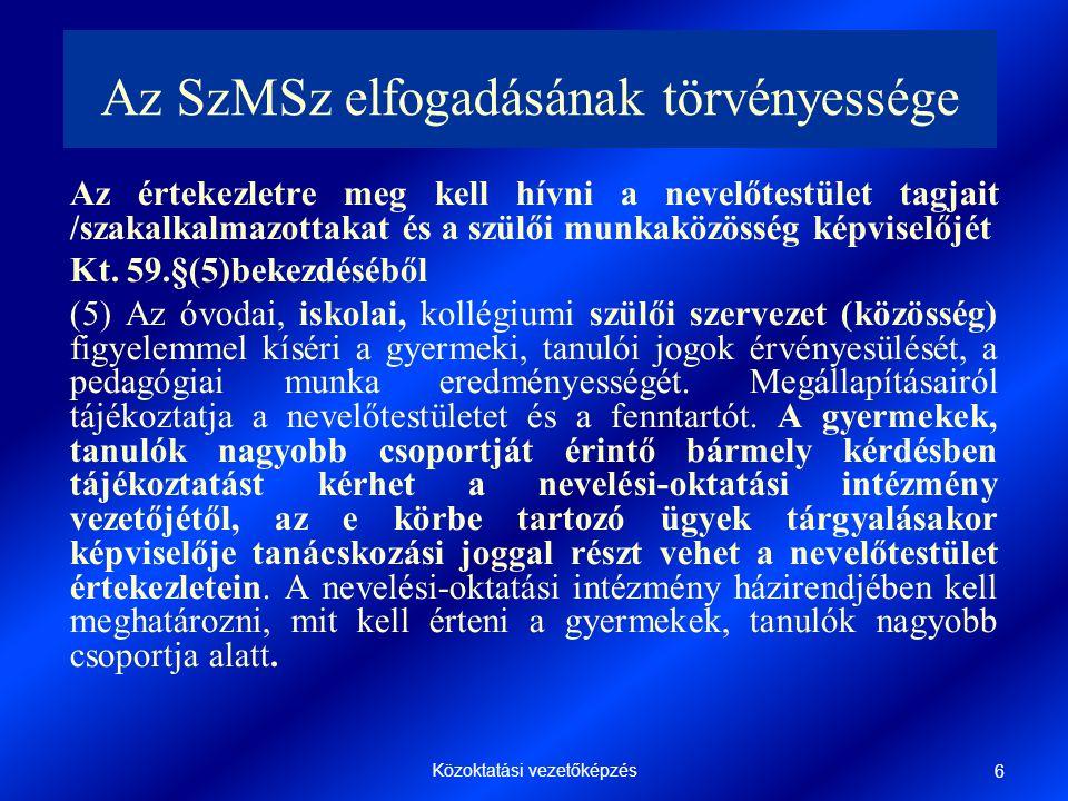 Az SzMSz elfogadásának törvényessége