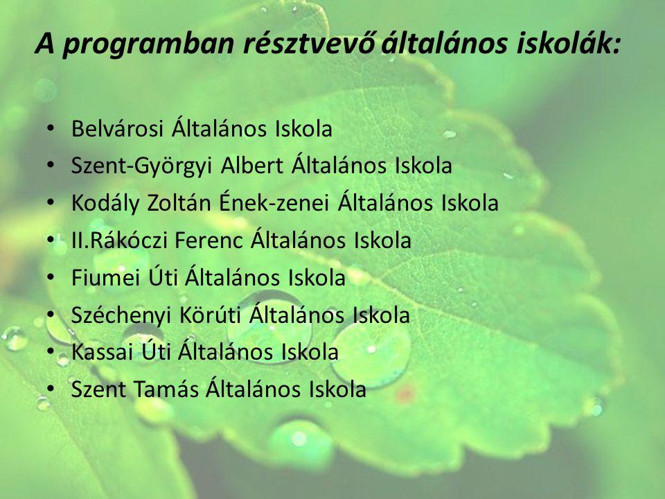 A programban résztvevő általános iskolák: