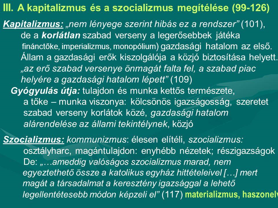 III. A kapitalizmus és a szocializmus megítélése (99-126)