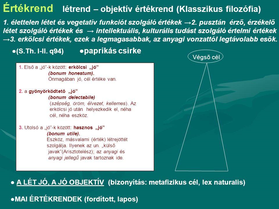 Értékrend létrend – objektív értékrend (Klasszikus filozófia)
