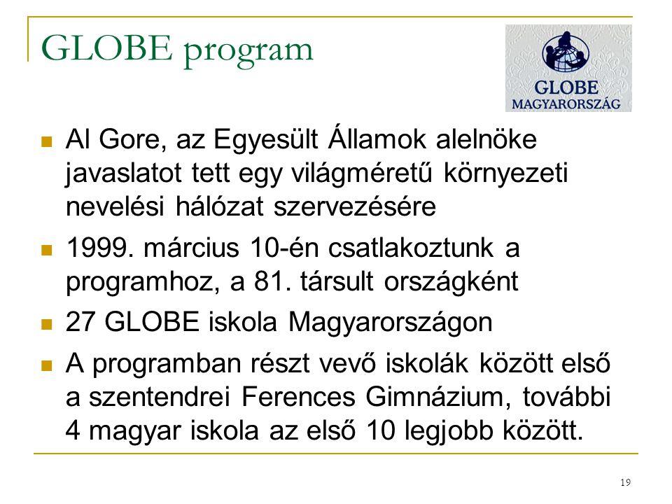 GLOBE program Al Gore, az Egyesült Államok alelnöke javaslatot tett egy világméretű környezeti nevelési hálózat szervezésére.