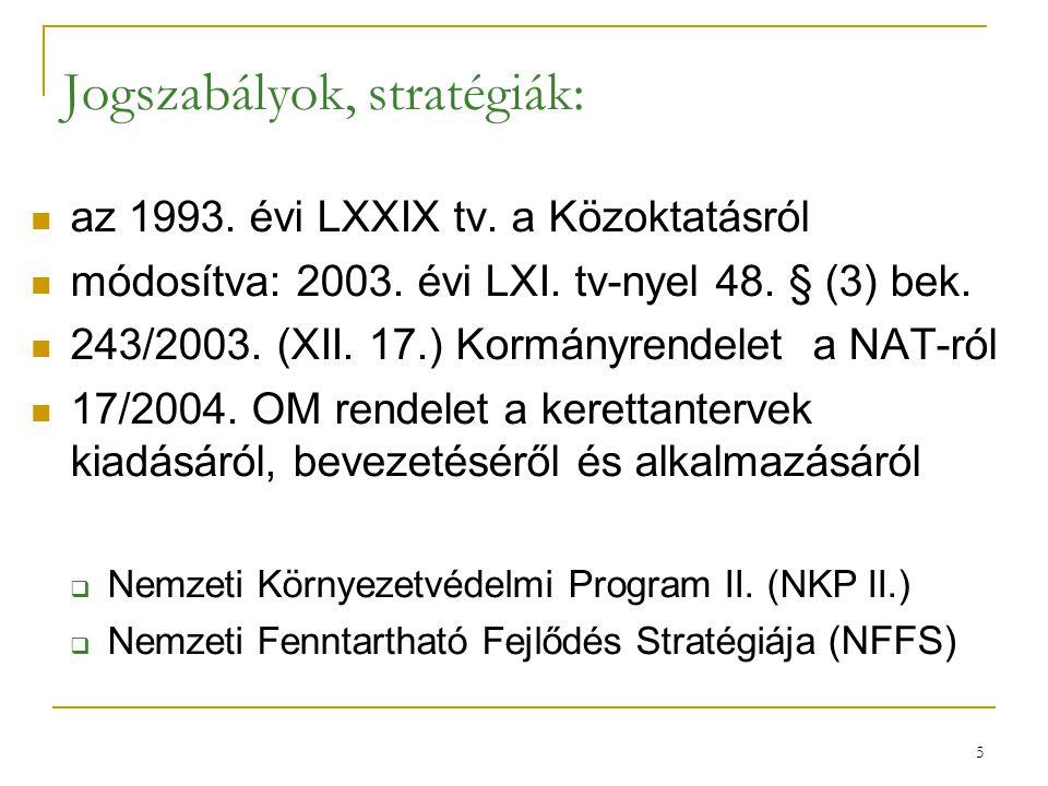 Jogszabályok, stratégiák: