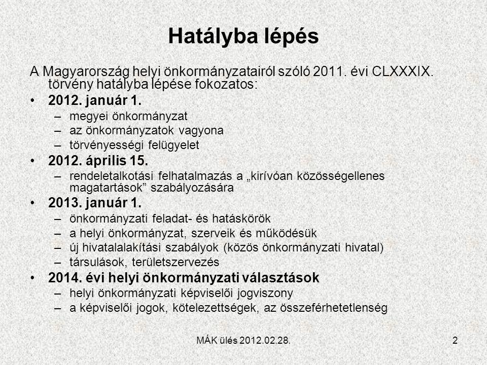 Hatályba lépés A Magyarország helyi önkormányzatairól szóló 2011. évi CLXXXIX. törvény hatályba lépése fokozatos: