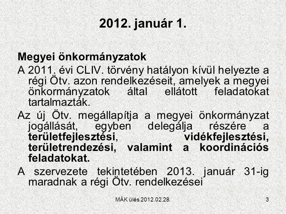 2012. január 1. Megyei önkormányzatok