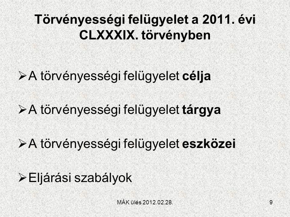 Törvényességi felügyelet a 2011. évi CLXXXIX. törvényben