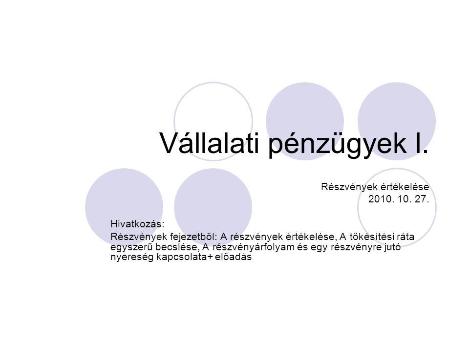 Vállalati pénzügyek I. Részvények értékelése 2010. 10. 27. Hivatkozás:
