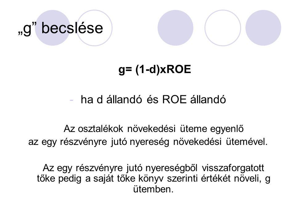 """""""g becslése ha d állandó és ROE állandó g= (1-d)xROE"""