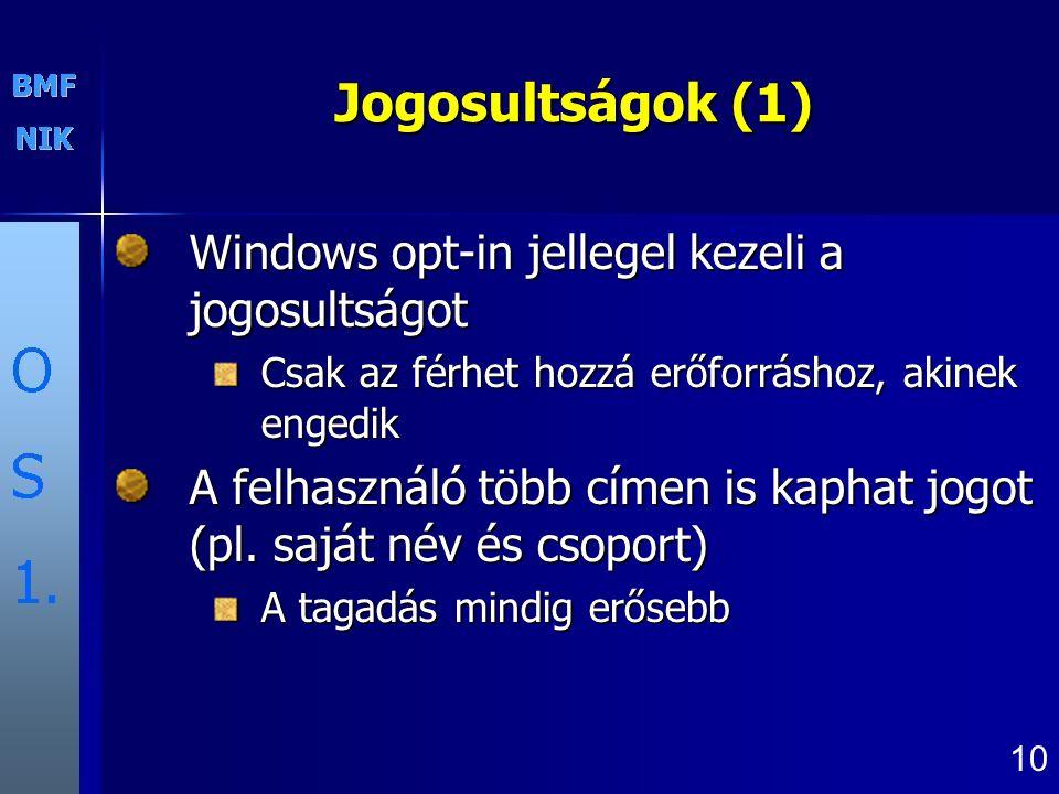Jogosultságok (1) Windows opt-in jellegel kezeli a jogosultságot
