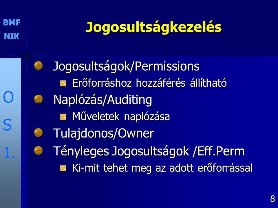 Jogosultságkezelés Jogosultságok/Permissions Naplózás/Auditing