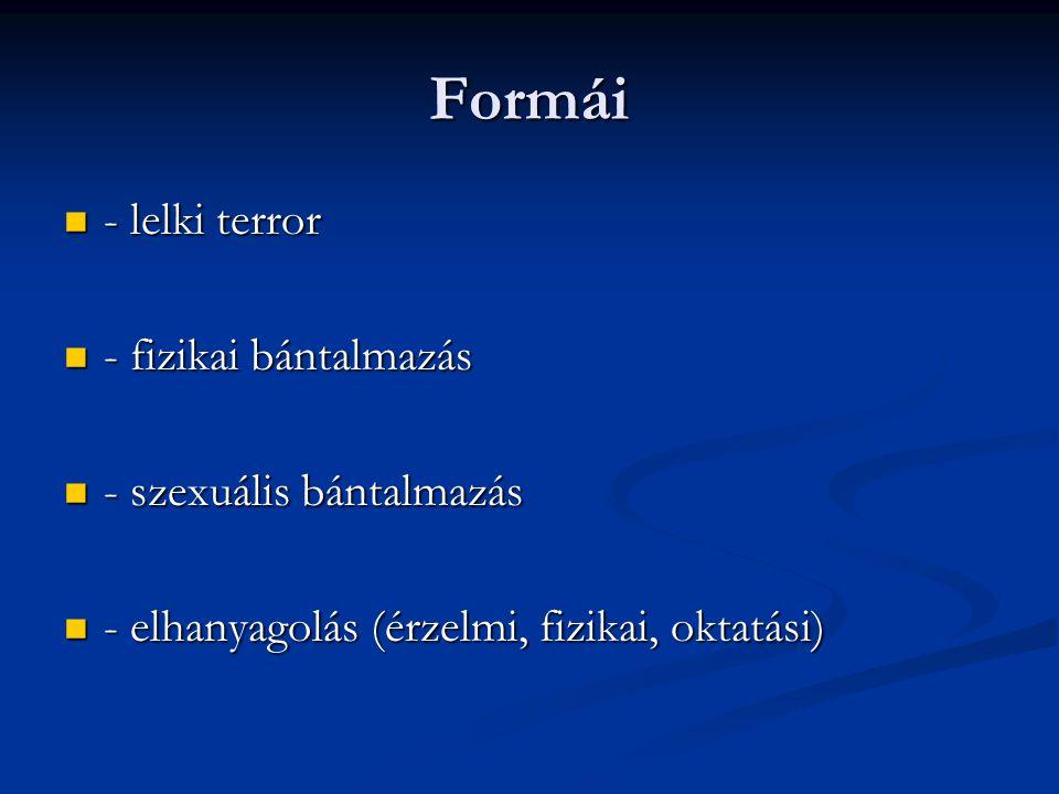 Formái - lelki terror - fizikai bántalmazás - szexuális bántalmazás