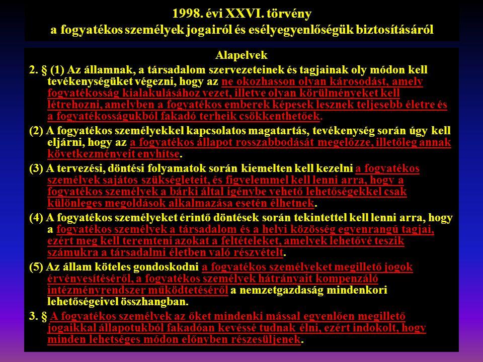 1998. évi XXVI. törvény a fogyatékos személyek jogairól és esélyegyenlőségük biztosításáról