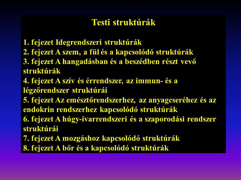 Testi struktúrák 1. fejezet Idegrendszeri struktúrák
