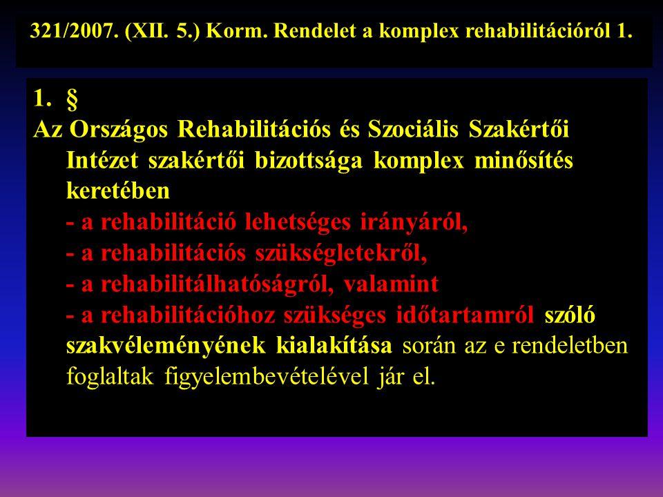 321/2007. (XII. 5.) Korm. Rendelet a komplex rehabilitációról 1..
