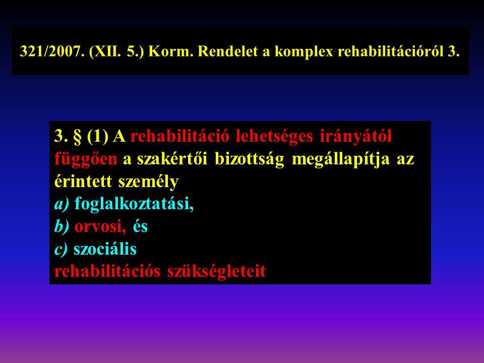 321/2007. (XII. 5.) Korm. Rendelet a komplex rehabilitációról 3.