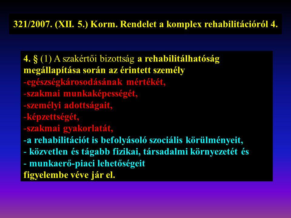 321/2007. (XII. 5.) Korm. Rendelet a komplex rehabilitációról 4.