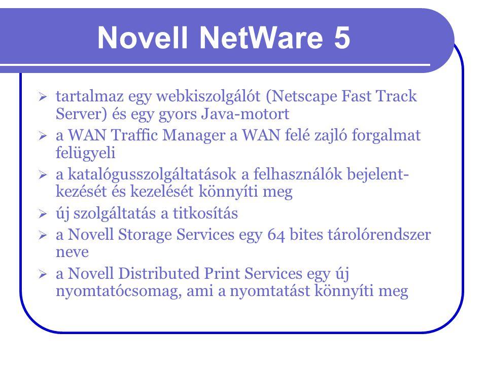 Novell NetWare 5 tartalmaz egy webkiszolgálót (Netscape Fast Track Server) és egy gyors Java-motort.
